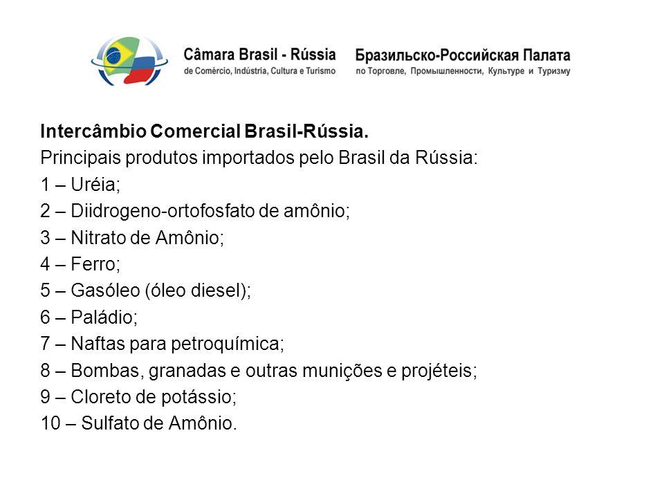 Intercâmbio Comercial Brasil-Rússia. Principais produtos importados pelo Brasil da Rússia: 1 – Uréia; 2 – Diidrogeno-ortofosfato de amônio; 3 – Nitrat