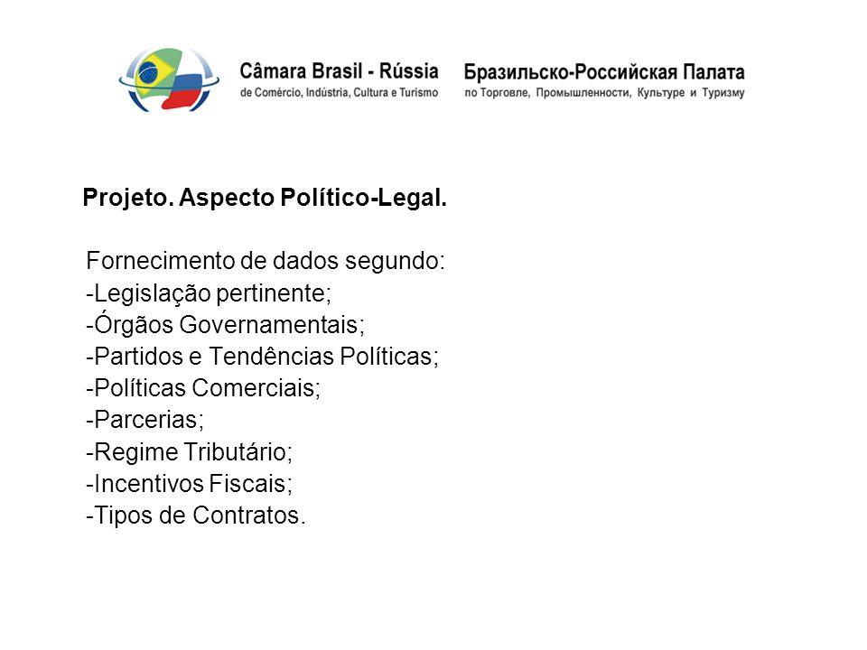 Projeto. Aspecto Político-Legal. Fornecimento de dados segundo: -Legislação pertinente; -Órgãos Governamentais; -Partidos e Tendências Políticas; -Pol