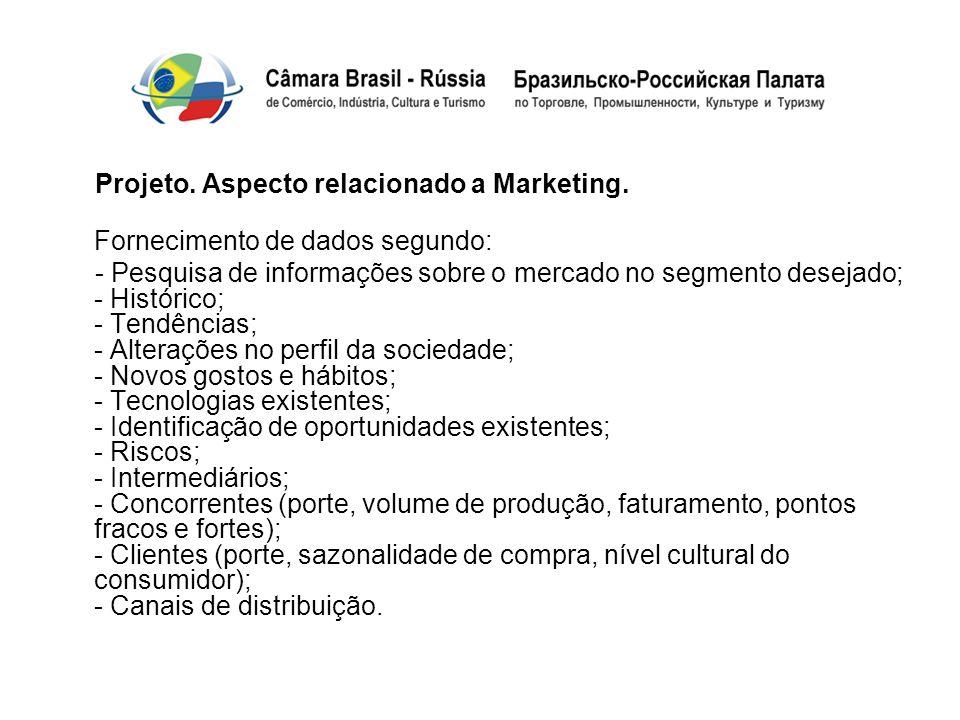 Projeto. Aspecto relacionado a Marketing. Fornecimento de dados segundo: - Pesquisa de informações sobre o mercado no segmento desejado; - Histórico;