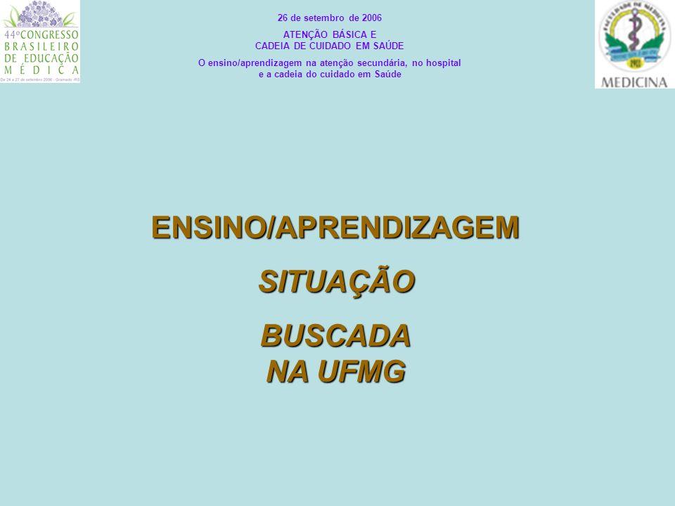ENSINO/APRENDIZAGEMSITUAÇÃO BUSCADA NA UFMG 26 de setembro de 2006 ATENÇÃO BÁSICA E CADEIA DE CUIDADO EM SAÚDE O ensino/aprendizagem na atenção secund