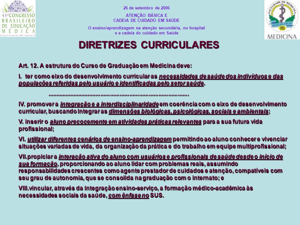 Art. 12. A estrutura do Curso de Graduação em Medicina deve: I. ter como eixo do desenvolvimento curricular as necessidades de saúde dos indivíduos e