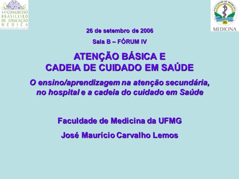26 de setembro de 2006 ATENÇÃO BÁSICA E CADEIA DE CUIDADO EM SAÚDE O ensino/aprendizagem na atenção secundária, no hospital e a cadeia do cuidado em Saúde TERRITORIALIDADE - TERRITORIALIDADE Participação Social Garantia de Autonomia - Interdisciplinaridade - Interprofissionalidade - Intersetorialidade - Integralidade (promoção, prevenção, recuperação e reabilitação) dimensões bio/psico/sócio/cultural O TEMPO ESCOLAR x O TEMPO REAL DO TERRITÓRIO (inclusive o calendário) - O TEMPO ESCOLAR x O TEMPO REAL DO TERRITÓRIO (inclusive o calendário) ATENÇÃO PRIMÁRIA EM SAÚDE (APS) PRINCÍPIOS: