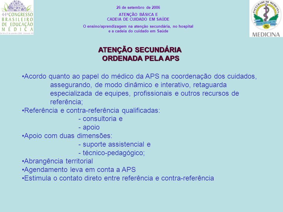ATENÇÃO TERCIÁRIA NO TERRITÓRIO E NO TEMPO REAL : - Interdisciplinaridade - Interprofissionalidade - Intersetorialidade - Integralidade: promoção, prevenção, recuperação, reabilitação - Participação social (autonomia) 26 de setembro de 2006 ATENÇÃO BÁSICA E CADEIA DE CUIDADO EM SAÚDE O ensino/aprendizagem na atenção secundária, no hospital e a cadeia do cuidado em Saúde ATENÇÃO PRIMÁRIA TERRITÓRIO A ATENÇÃO PRIMÁRIA TERRITÓRIO B ATENÇÃO PRIMÁRIA TERRITÓRIO C ATENÇÃO SECUNDÁRIA TERRITÓRIOS A, B, C BIOPSICO-SOCIAL CULTURAL