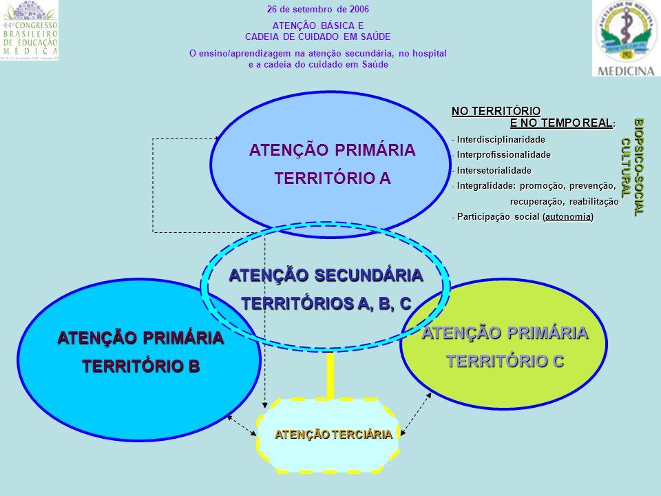 ATENÇÃO TERCIÁRIA NO TERRITÓRIO E NO TEMPO REAL : - Interdisciplinaridade - Interprofissionalidade - Intersetorialidade - Integralidade: promoção, pre