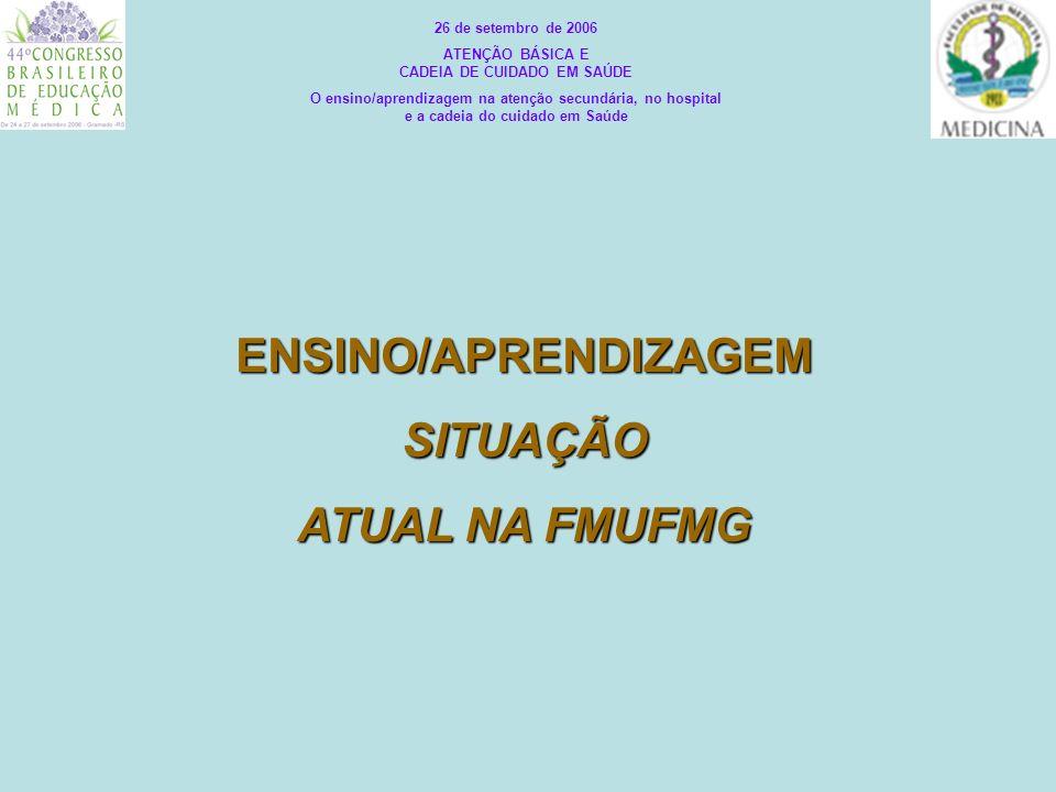 ENSINO/APRENDIZAGEMSITUAÇÃO ATUAL NA FMUFMG 26 de setembro de 2006 ATENÇÃO BÁSICA E CADEIA DE CUIDADO EM SAÚDE O ensino/aprendizagem na atenção secund