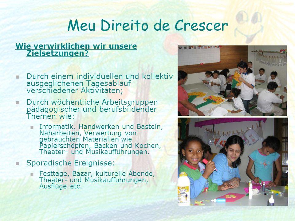 Meu Direito de Crescer Wie verwirklichen wir unsere Zielsetzungen? Durch einem individuellen und kollektiv ausgeglichenen Tagesablauf verschiedener Ak