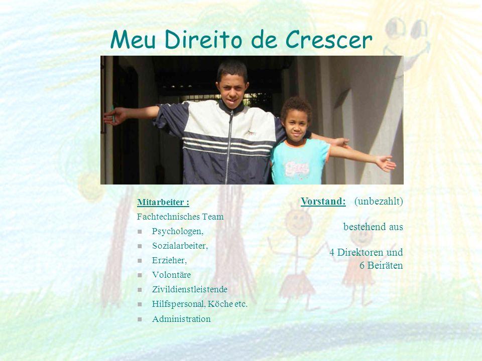 Meu Direito de Crescer Mitarbeiter : Fachtechnisches Team Psychologen, Sozialarbeiter, Erzieher, Volontäre Zivildienstleistende Hilfspersonal, Köche e