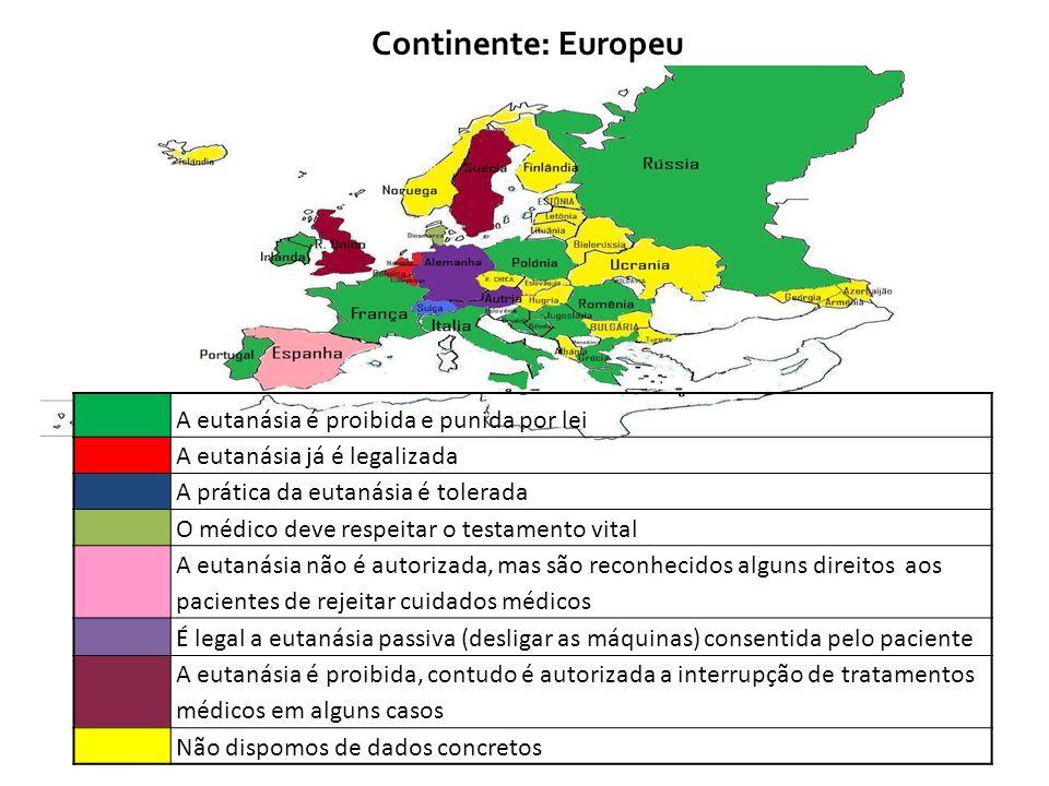Continente: Europeu A eutanásia é proibida e punida por lei A eutanásia já é legalizada A prática da eutanásia é tolerada O médico deve respeitar o te