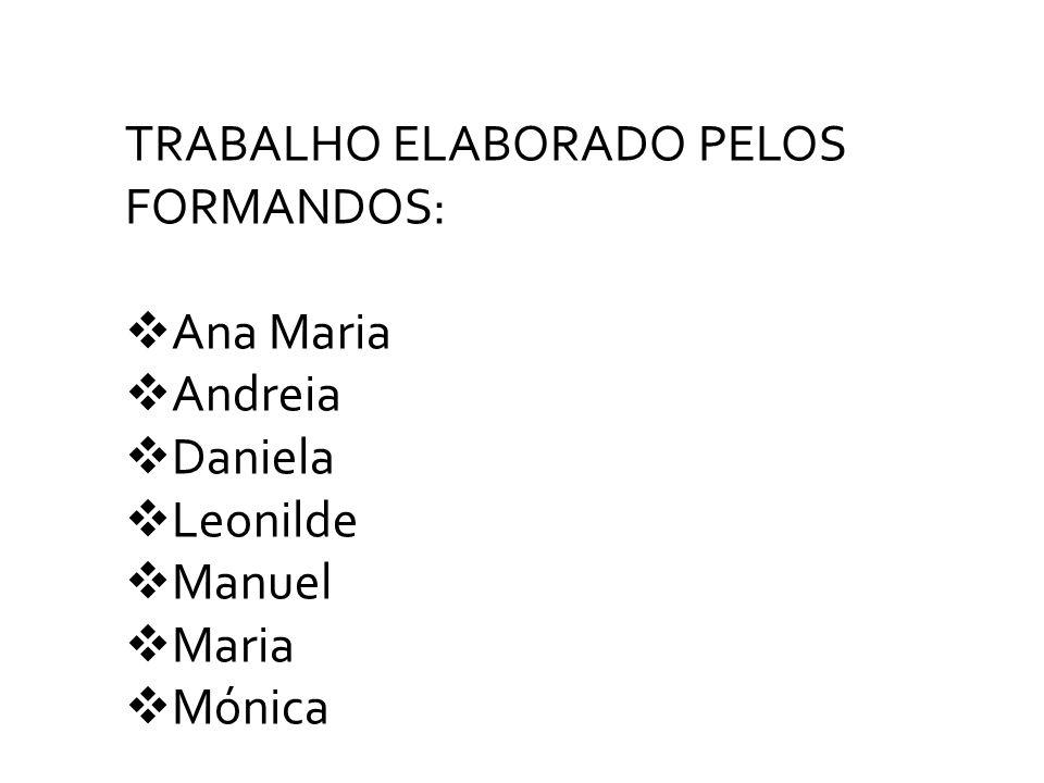 TRABALHO ELABORADO PELOS FORMANDOS: Ana Maria Andreia Daniela Leonilde Manuel Maria Mónica