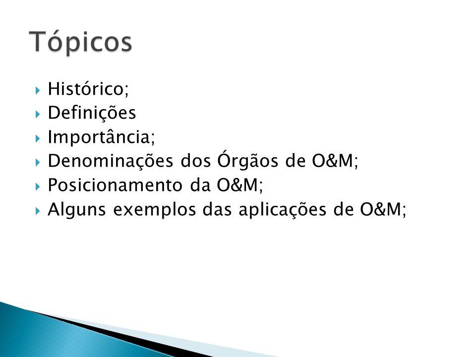 Histórico; Definições Importância; Denominações dos Órgãos de O&M; Posicionamento da O&M; Alguns exemplos das aplicações de O&M;