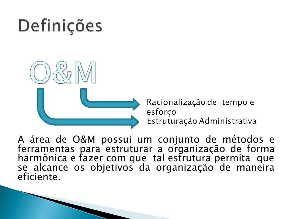 A área de O&M possui um conjunto de métodos e ferramentas para estruturar a organização de forma harmônica e fazer com que tal estrutura permita que s