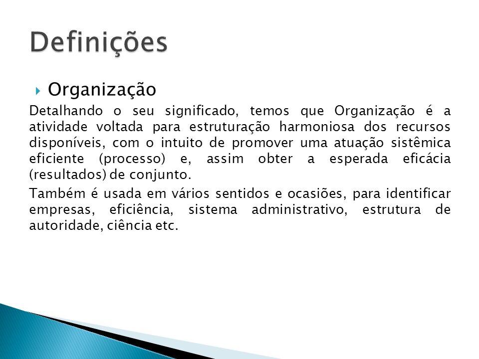 Organização Detalhando o seu significado, temos que Organização é a atividade voltada para estruturação harmoniosa dos recursos disponíveis, com o int