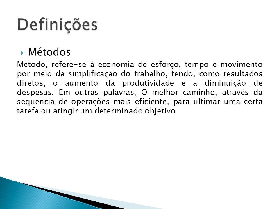 Métodos Método, refere-se à economia de esforço, tempo e movimento por meio da simplificação do trabalho, tendo, como resultados diretos, o aumento da