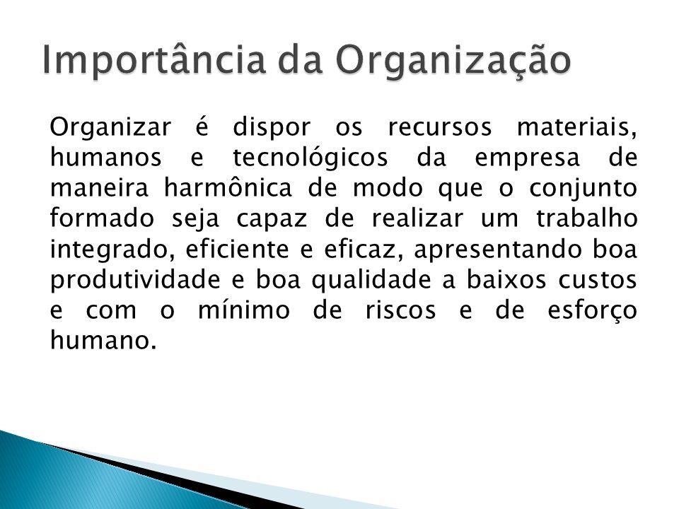 Organizar é dispor os recursos materiais, humanos e tecnológicos da empresa de maneira harmônica de modo que o conjunto formado seja capaz de realizar