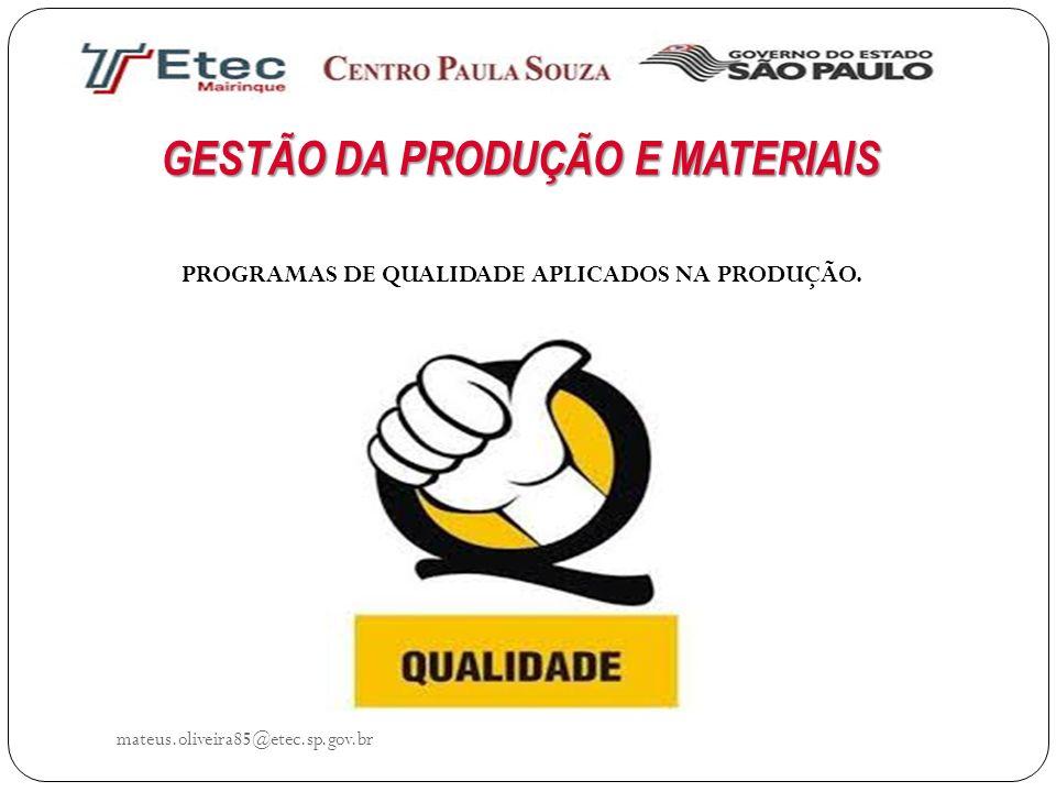 GESTÃO DA PRODUÇÃO E MATERIAIS mateus.oliveira85@etec.sp.gov.br PROGRAMAS DE QUALIDADE APLICADOS NA PRODUÇÃO.