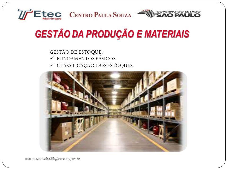 GESTÃO DA PRODUÇÃO E MATERIAIS GESTÃO DE ESTOQUE: FUNDAMENTOS BÁSICOS CLASSIFICAÇÃO DOS ESTOQUES. mateus.oliveira85@etec.sp.gov.br