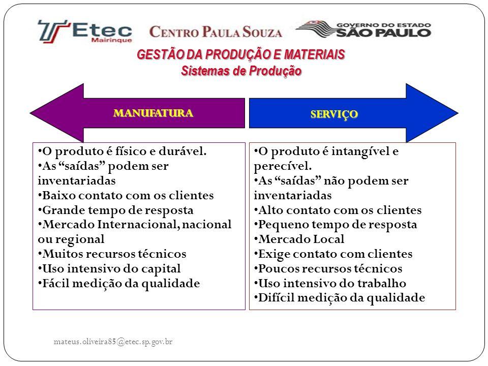 mateus.oliveira85@etec.sp.gov.br O produto é físico e durável. As saídas podem ser inventariadas Baixo contato com os clientes Grande tempo de respost