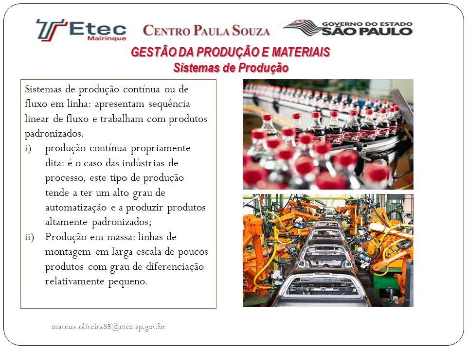 mateus.oliveira85@etec.sp.gov.br Sistemas de produção contínua ou de fluxo em linha: apresentam sequência linear de fluxo e trabalham com produtos pad