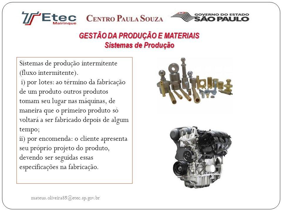 mateus.oliveira85@etec.sp.gov.br Sistemas de produção intermitente (fluxo intermitente). i) por lotes: ao término da fabricação de um produto outros p