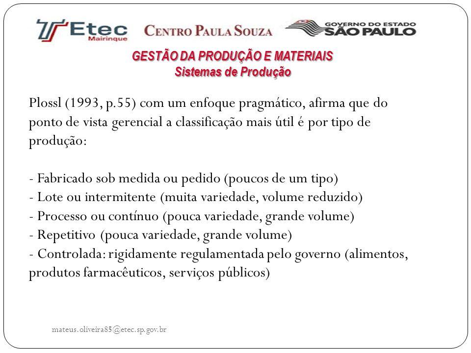 mateus.oliveira85@etec.sp.gov.br Plossl (1993, p.55) com um enfoque pragmático, afirma que do ponto de vista gerencial a classificação mais útil é por