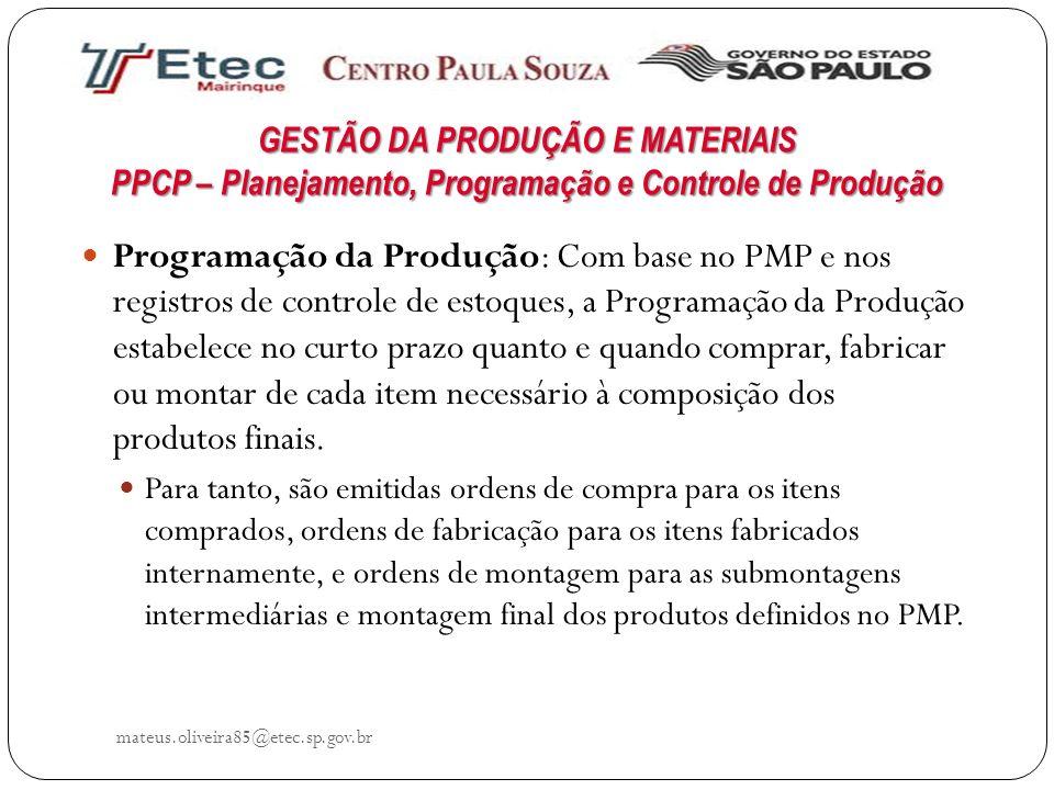 GESTÃO DA PRODUÇÃO E MATERIAIS PPCP – Planejamento, Programação e Controle de Produção mateus.oliveira85@etec.sp.gov.br Programação da Produção: Com b