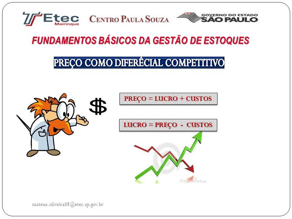 FUNDAMENTOS BÁSICOS DA GESTÃO DE ESTOQUES mateus.oliveira85@etec.sp.gov.br PREÇO = LUCRO + CUSTOS PREÇO = LUCRO + CUSTOS LUCRO = PREÇO - CUSTOS LUCRO
