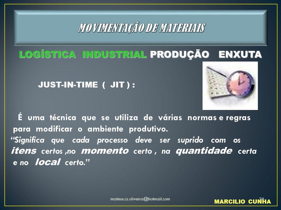 JUST-IN-TIME ( JIT ) : É uma técnica que se utiliza de várias normas e regras para modificar o ambiente produtivo. Significa que cada processo deve se