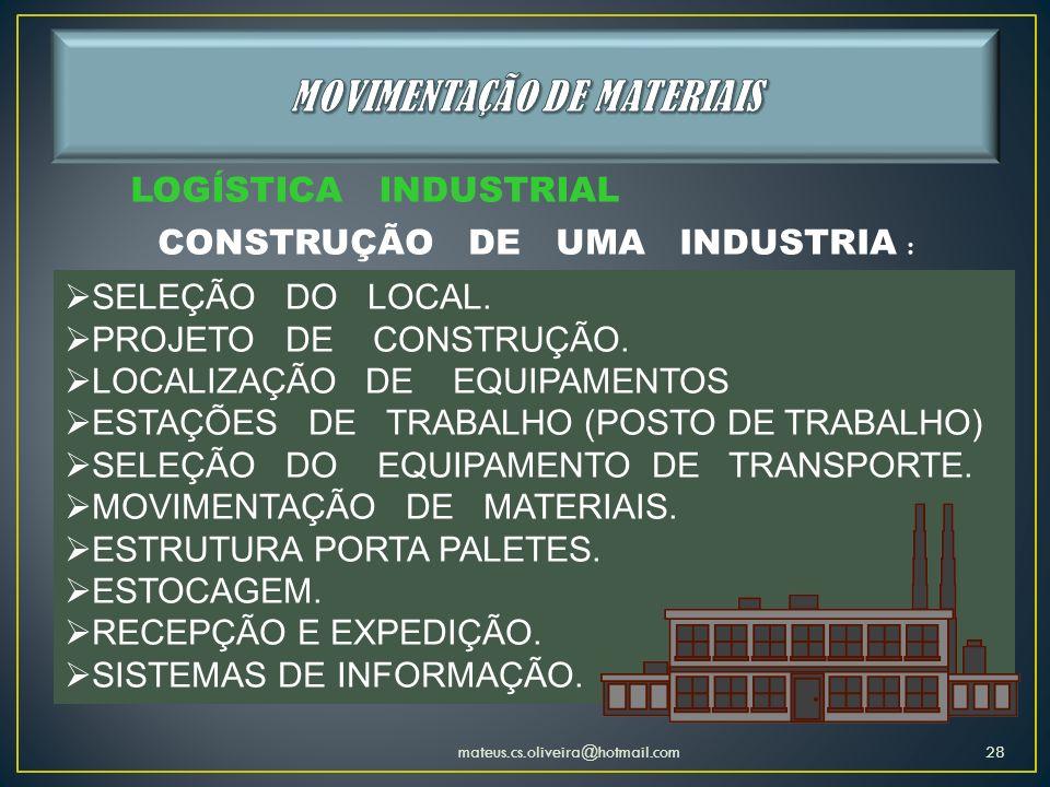 LOGÍSTICA INDUSTRIAL CONSTRUÇÃO DE UMA INDUSTRIA : SELEÇÃO DO LOCAL. PROJETO DE CONSTRUÇÃO. LOCALIZAÇÃO DE EQUIPAMENTOS ESTAÇÕES DE TRABALHO (POSTO DE
