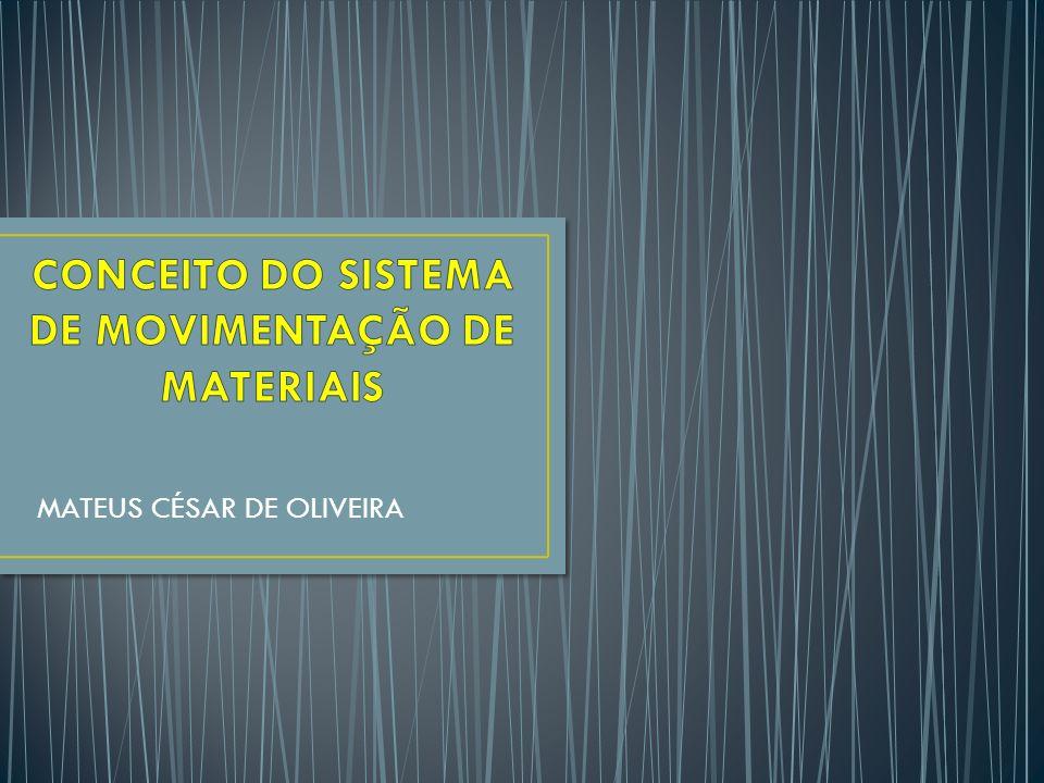 CONCEITO DE SISTEMA DE MOVIMENTAÇÃO DE MATERIAIS Um sistema de movimentação de material pode englobar toda uma instalação e, em alguns casos, até mesmo as instalações dos fornecedores e dos clientes (Kulwiec, 1985, p.