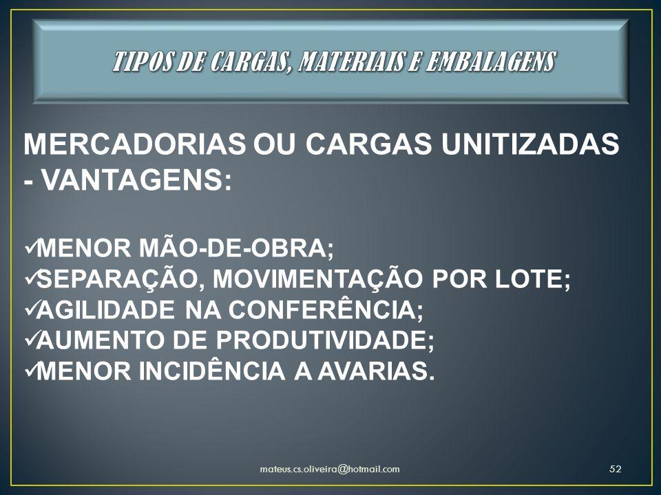 mateus.cs.oliveira@hotmail.com52 MERCADORIAS OU CARGAS UNITIZADAS - VANTAGENS: MENOR MÃO-DE-OBRA; SEPARAÇÃO, MOVIMENTAÇÃO POR LOTE; AGILIDADE NA CONFE
