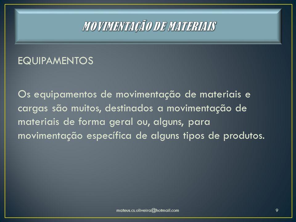 EQUIPAMENTOS Os equipamentos de movimentação de materiais e cargas são muitos, destinados a movimentação de materiais de forma geral ou, alguns, para