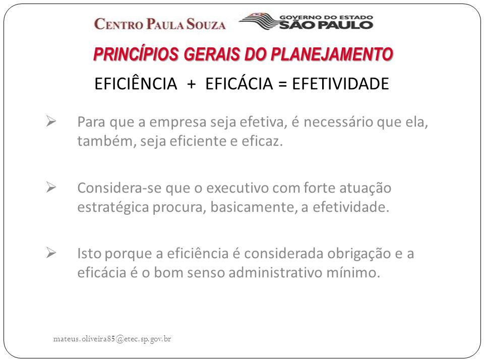 mateus.oliveira85@etec.sp.gov.br EFICIÊNCIA + EFICÁCIA = EFETIVIDADE Para que a empresa seja efetiva, é necessário que ela, também, seja eficiente e eficaz.