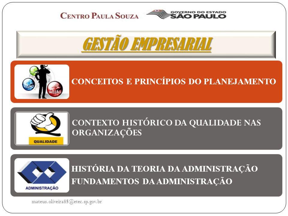 GESTÃO EMPRESARIAL CONCEITOS DE PLANEJAMENTO mateus.oliveira85@etec.sp.gov.br