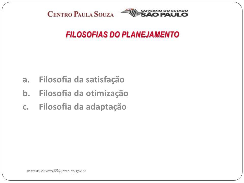 mateus.oliveira85@etec.sp.gov.br FILOSOFIAS DO PLANEJAMENTO a.Filosofia da satisfação b.Filosofia da otimização c.Filosofia da adaptação
