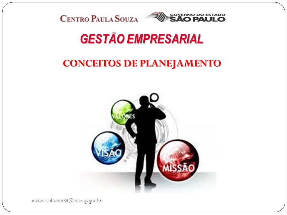 mateus.oliveira85@etec.sp.gov.br PRINCÍPIOS GERAIS DO PLANEJAMENTO c.Maiores influência e abrangência O planejamento pode provocar uma série de modificações nas características e atividades da empresa.