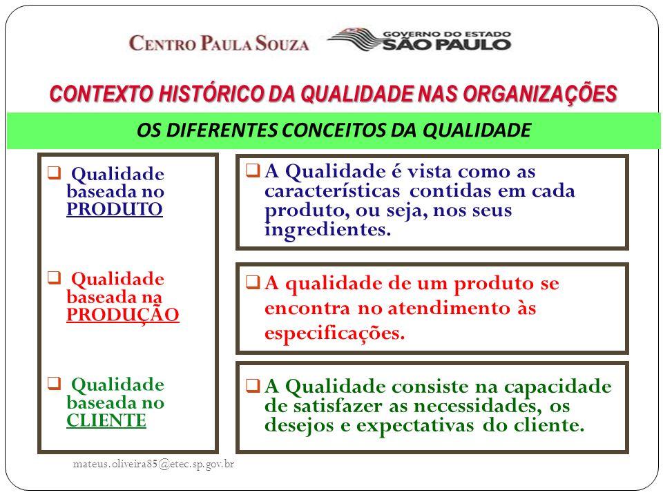 mateus.oliveira85@etec.sp.gov.br Qualidade baseada no PRODUTO Qualidade baseada na PRODUÇÃO Qualidade baseada no CLIENTE A Qualidade é vista como as características contidas em cada produto, ou seja, nos seus ingredientes.