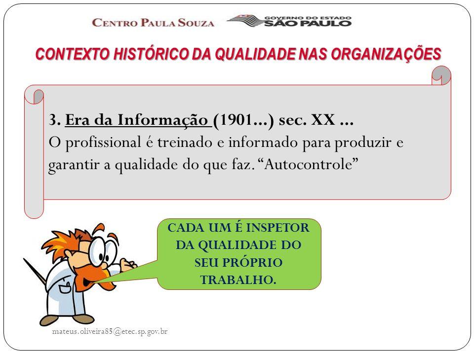 mateus.oliveira85@etec.sp.gov.br CONTEXTO HISTÓRICO DA QUALIDADE NAS ORGANIZAÇÕES 3.
