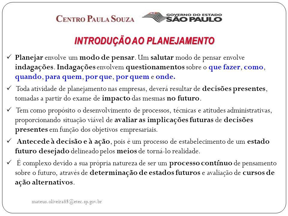 mateus.oliveira85@etec.sp.gov.br CONCEITOS DO PLANEJAMENTO Ferramenta para administrar as relações com o futuro.