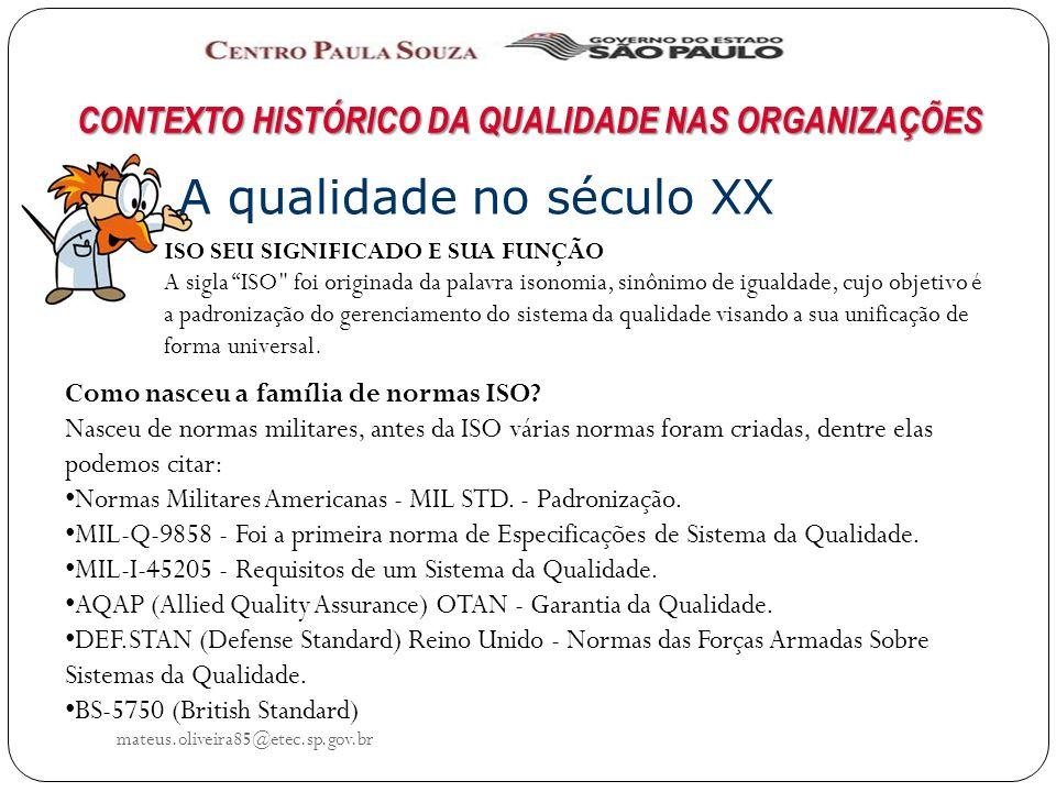 mateus.oliveira85@etec.sp.gov.br CONTEXTO HISTÓRICO DA QUALIDADE NAS ORGANIZAÇÕES A qualidade no século XX Como nasceu a família de normas ISO.
