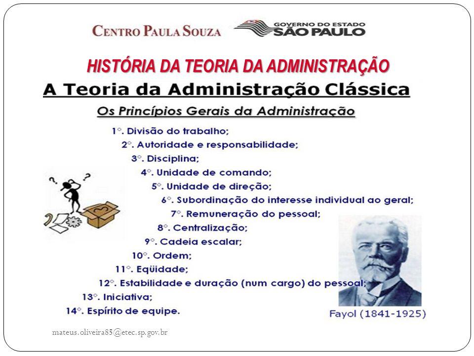 mateus.oliveira85@etec.sp.gov.br HISTÓRIA DA TEORIA DA ADMINISTRAÇÃO