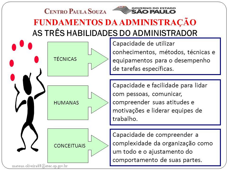 mateus.oliveira85@etec.sp.gov.br FUNDAMENTOS DA ADMINISTRAÇÃO AS TRÊS HABILIDADES DO ADMINISTRADOR TÉCNICAS HUMANAS CONCEITUAIS Capacidade de utilizar conhecimentos, métodos, técnicas e equipamentos para o desempenho de tarefas específicas.