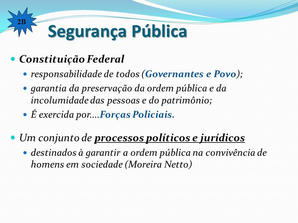 Segurança Pública Constituição Federal responsabilidade de todos (Governantes e Povo); garantia da preservação da ordem pública e da incolumidade das