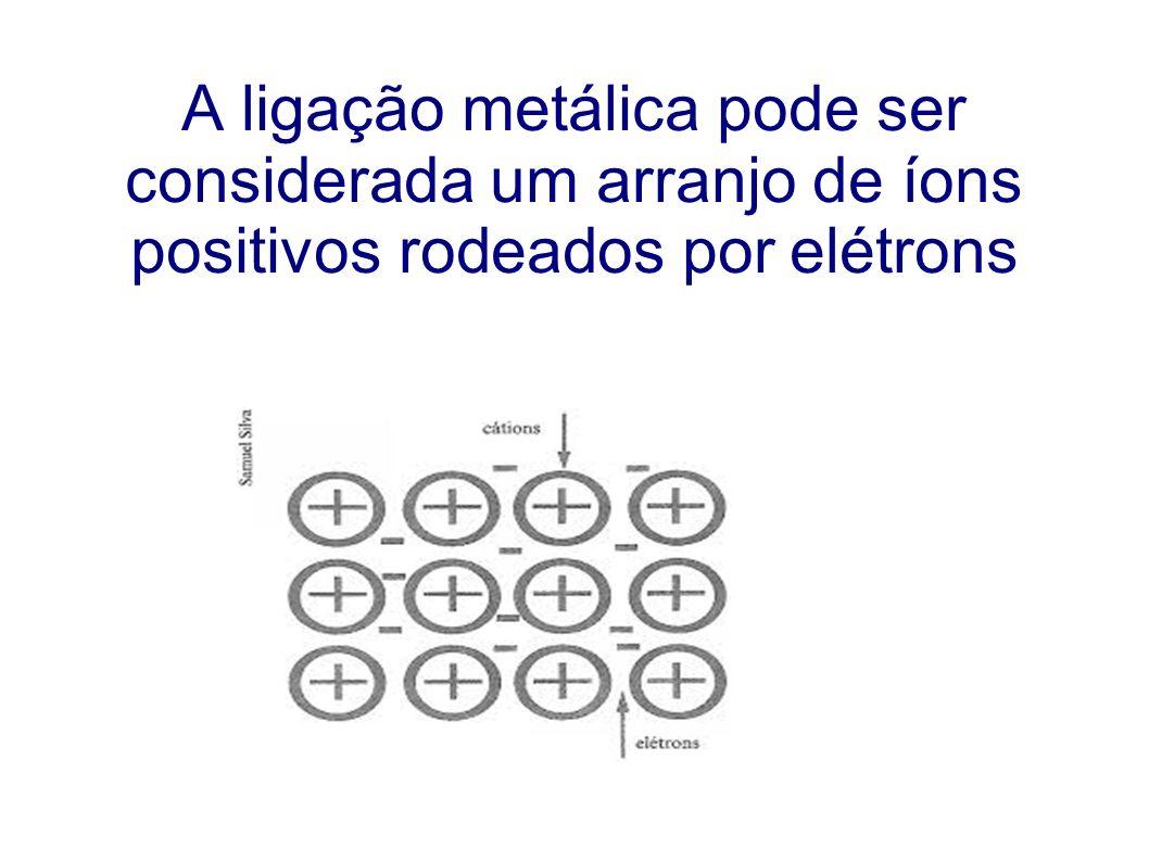 A ligação metálica pode ser considerada um arranjo de íons positivos rodeados por elétrons