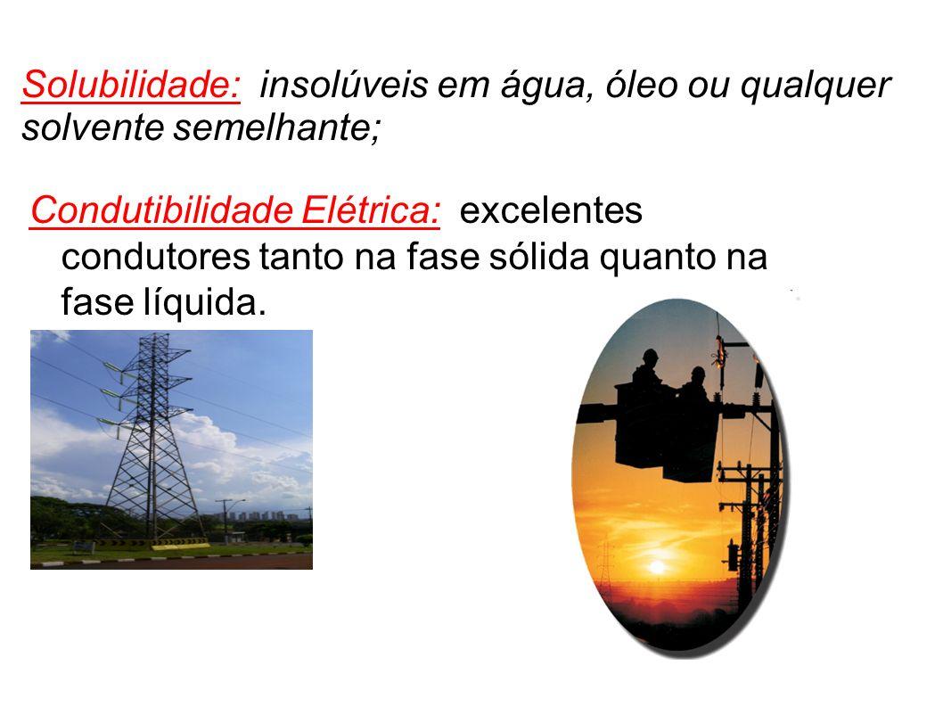 Solubilidade: insolúveis em água, óleo ou qualquer solvente semelhante; Condutibilidade Elétrica: excelentes condutores tanto na fase sólida quanto na