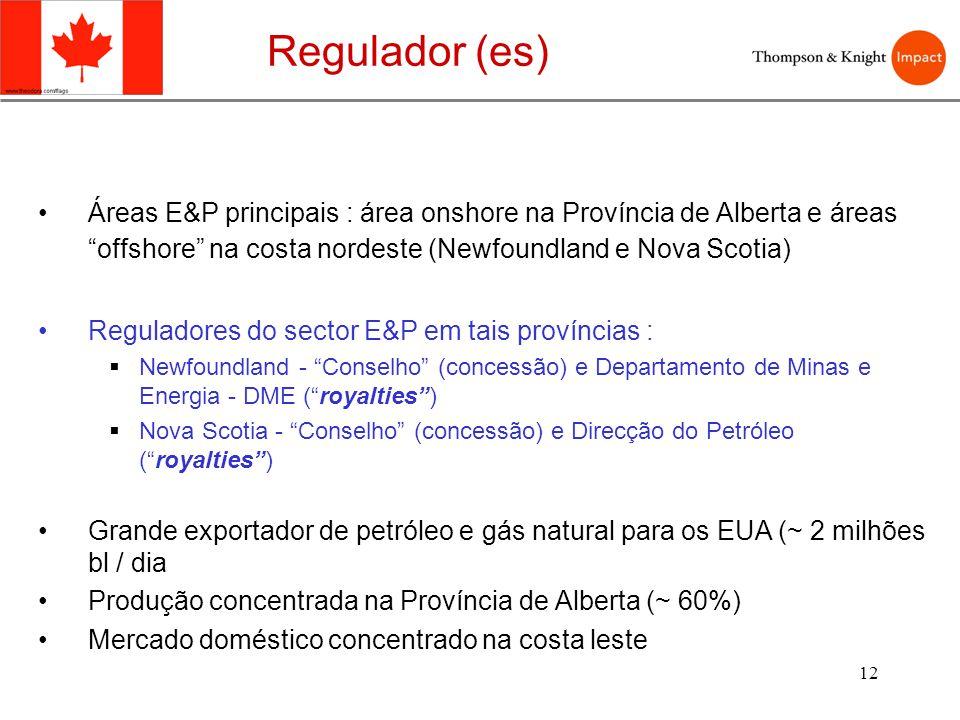 12 Áreas E&P principais : área onshore na Província de Alberta e áreas offshore na costa nordeste (Newfoundland e Nova Scotia) Reguladores do sector E