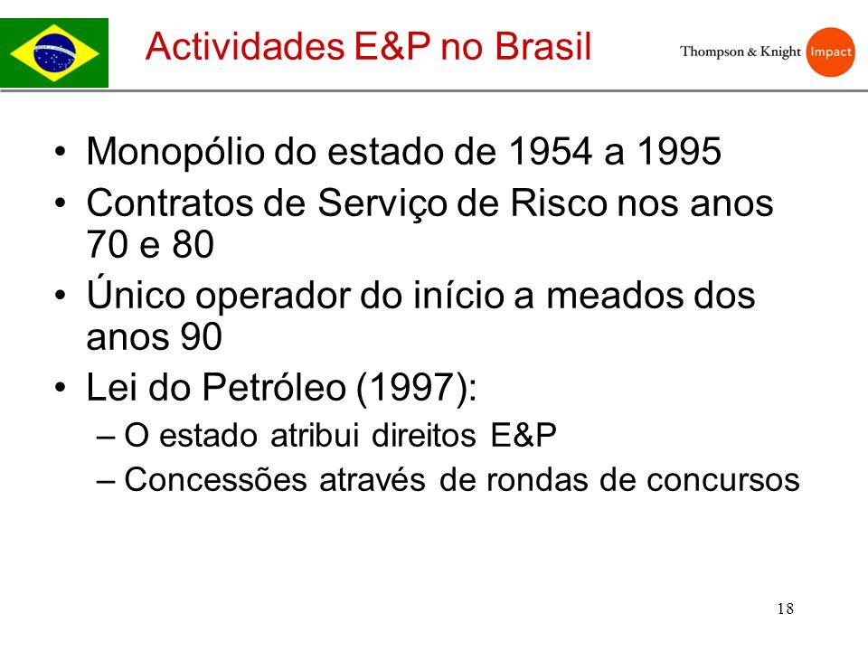 18 Monopólio do estado de 1954 a 1995 Contratos de Serviço de Risco nos anos 70 e 80 Único operador do início a meados dos anos 90 Lei do Petróleo (19