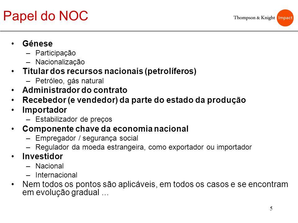 5 Papel do NOC Génese –Participação –Nacionalização Titular dos recursos nacionais (petrolíferos) –Petróleo, gás natural Administrador do contrato Rec