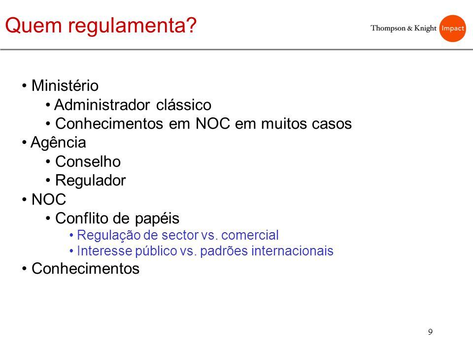 9 Quem regulamenta? Ministério Administrador clássico Conhecimentos em NOC em muitos casos Agência Conselho Regulador NOC Conflito de papéis Regulação