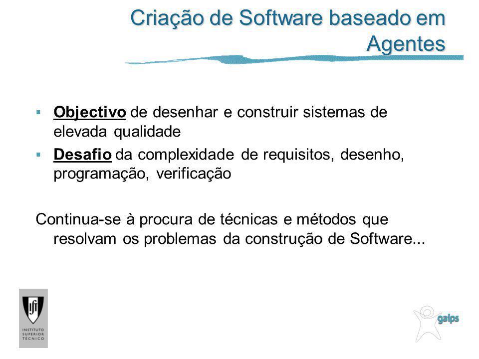 Criação de Software baseado em Agentes Objectivo de desenhar e construir sistemas de elevada qualidade Desafio da complexidade de requisitos, desenho,