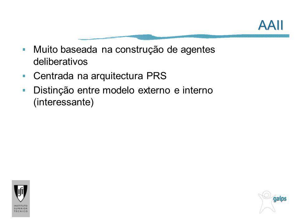 AAII Muito baseada na construção de agentes deliberativos Centrada na arquitectura PRS Distinção entre modelo externo e interno (interessante)